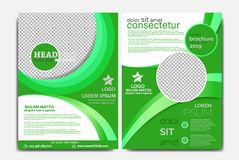 BUSINESS BROCHURE TEMPLATE GREEN COLOR R royalty free stock photos