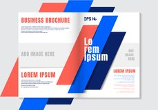 Brochure design template geometric vivid color element background. Business cover modern style royalty free illustration