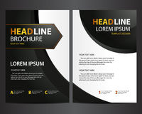 Brochure design template - modern black with golden text Royalty Free Stock Photos