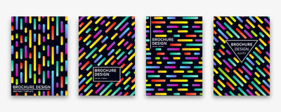 Brochure design with trendy neon gradients. Vector illustration. Stock Photo
