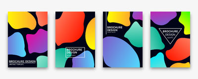 Brochure design with trendy neon gradients. Vector illustration. Stock Photography
