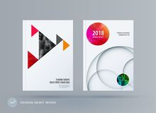 Brochure design triangular template. Colourful modern abstract set, annual report with triangles for branding. vector illustration
