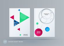 Brochure design triangular template. Colourful modern abstract set, annual report with triangles for branding. stock illustration