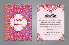 Brochure design with vintage symmetric ornament Royalty Free Stock Images