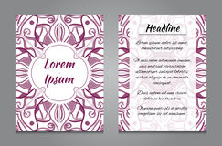 Brochure design with vintage symmetric ornament Royalty Free Stock Photography