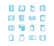 Brochure flat line icons. Business identity vector illustrations - letterhead, booklet, flyer, leaflet, corporate. Catalogue, envelope. Thin signs for print stock illustration