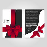 Brochure flier design template with gift ribbon. Vector poster illustration. Leaflet cover layout in A4 size Stock Image