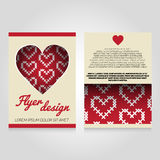 Brochure flier design template with heart pattern Royalty Free Stock Photos