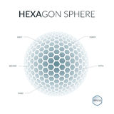 Brochure, flyer with 3D sphere of geometric hexagonal shapes. Ve Stock Image