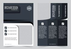Brochure, Flyer design black and white color template stock illustration