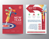 Brochure Flyer design Layout vector template iwith New Year Resolutions target concept