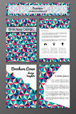 Brochure and flyer design templates set with triangular abstarct pattern. Vector set of brochure and flyer covers design templates with abstract triangular royalty free illustration