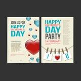 Brochure Flyer Happy Valentine's Day design vector Royalty Free Stock Photo