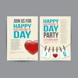 Brochure Flyer Happy Valentine's Day design vector Stock Image