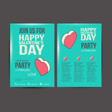 Brochure Flyer Happy Valentine's Day design vector Royalty Free Stock Photography