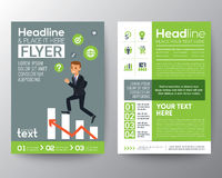 Brochure flyer layout template with businessman climbing on red arrow graph. Brochure flyer design layout template in A4 size with businessman climbing on red Vector Illustration