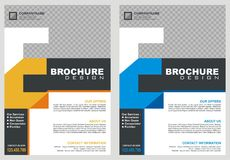 Brochure - Flyer with letter `E` logo style cover. With two color choices, simple - modern and luxury design Stock Photography