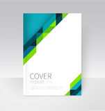 Brochure, flyer, poster, annual report cover template. Geometric Absract background. blue and green diagonal lines. Brochure, flyer, poster, annual report cover Royalty Free Stock Photo