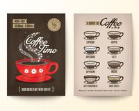 Brochure Flyer Poster design template Layout with type of coffee Stock Image