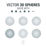 Brochure, flyer with set of 3D sphere of geometric  shapes. Vect Stock Image