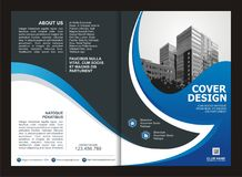 Brochure, Flyer, Template Design with Blue and Black color Stock Photos