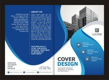 Brochure, Flyer, Template Design with Blue and Black color Stock Images