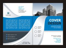 Brochure, Flyer, Template Design with Blue and White color Stock Photography