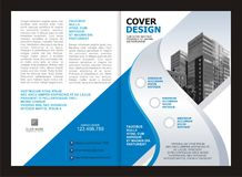 Brochure, Flyer, Template Design with Blue and White color Stock Images