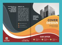 Brochure, Flyer, Template Design with Orange and Yellow color Stock Images