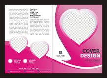 Brochure, Flyer, Template Design with Pink Color And love Stock Photo