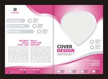 Brochure, Flyer, Template Design with Pink Color And love Stock Photography
