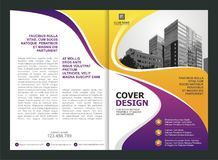 Brochure, Flyer, Template Design with Purple and Yellow color Royalty Free Stock Image