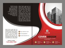 Brochure, Flyer, Template Design with Red and Black color Stock Images