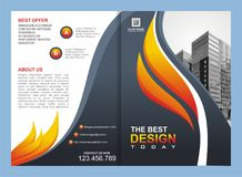 Brochure, Flyer, Template with Fire Design Stock Image