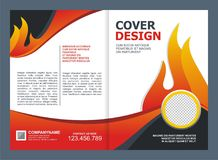 Brochure, Flyer, Template with Fire Design. Brochure, Flyer, Cover Template with fire Design Stock Photos