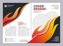 Brochure, Flyer, Template with Fire Design. Brochure, Flyer, Cover Template with fire Design Stock Images