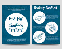 Brochure flyers template with healthy seafood Royalty Free Stock Images