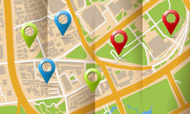 Brochure with folds city map with markers Stock Photo