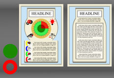 Brochure frame a diagram. Brochure template frame a diagram and symbols. Showing the two sides of the front and reverse, neutral elements are added to produce royalty free illustration