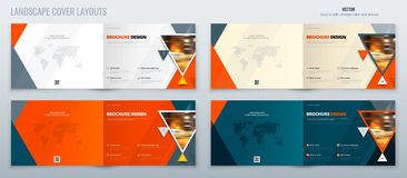 Brochure landscape template layout, cover design annual report, magazine, flyer or booklet in A4 with triangle geometric royalty free illustration