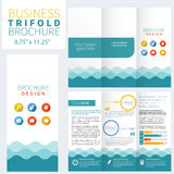 Brochure Layout Design Template. Blue Brochure Layout Design Template Royalty Free Stock Photos