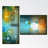Brochure Layout Design Template. With icons Royalty Free Illustration