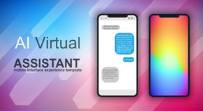 Brochure layout Mobile AI artificial intelligent chat bot support template and UI phone. Brochure template, Flyer Design or Depliant Cover for business purposes vector illustration