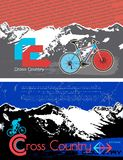 Brochure, leaflet design vector template. Template flyers bike in the mountain. Royalty Free Stock Photo