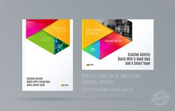 Brochure design rectangular template. Colourful modern abstract set, annual report with material design for branding. Brochure material design style template Royalty Free Stock Photography