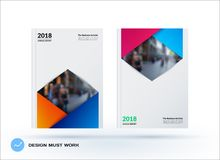 Brochure design rectangular template. Colourful modern abstract set, annual report with material design for branding. Brochure material design style template Royalty Free Stock Image