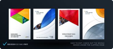 Brochure design rectangular template. Colourful modern abstract set, annual report with material design for branding. Brochure material design style template Stock Photos