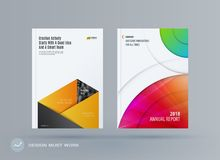 Brochure design rectangular template. Colourful modern abstract set, annual report with material design for branding. Brochure material design style template Royalty Free Stock Photos