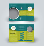 Brochure mock up design template for business, education, advertisement. Trifold booklet. Editable printable vector illustration. Green color Royalty Free Stock Image