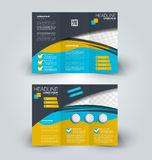 Brochure mock up design template for business, education, advertisement. Brochure design template for business, education, advertisement. Trifold booklet vector Stock Image